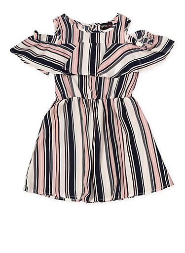 Girls 4-6x Striped Cold Shoulder Dress | 1614051060171,NAVY,large