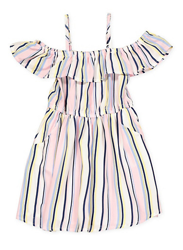 Girls 4-6x Striped 2 Pocket Off the Shoulder Dress,PINK,large