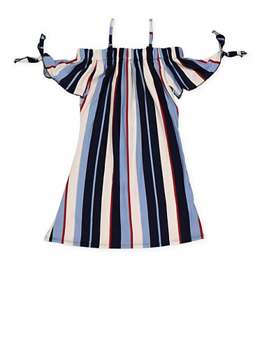 Girls 4-6x Striped Off the Shoulder Tie Sleeve Dress,WINE,large