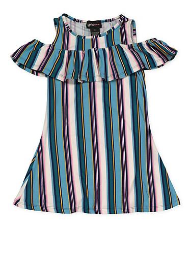 Girls 4-6x Striped Cold Shoulder Dress,TEAL,large