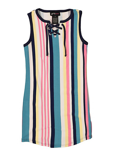 Girls 4-6x Multi Stripe Lace Up Tank Dress,TEAL,large