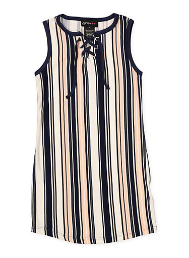 Girls 4-6x Striped Soft Knit Lace Up Tank Dress,NAVY,large