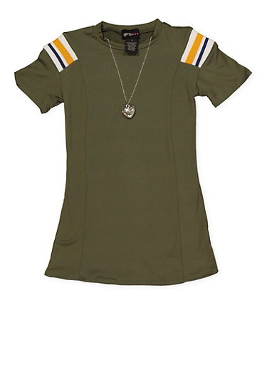 Girls 4-6x Striped Detail T Shirt Dress with Necklace,OLIVE,large