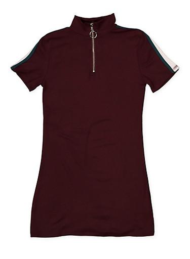 Girls 4-6x Zip Neck T Shirt Dress,PURPLE,large