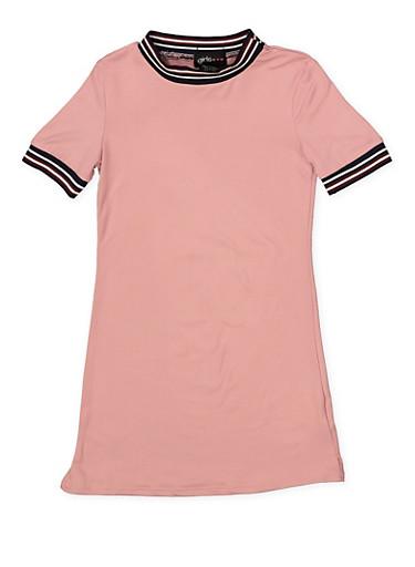 Girls 4-6x Striped Rib Knit Trim T Shirt Dress,MAUVE,large