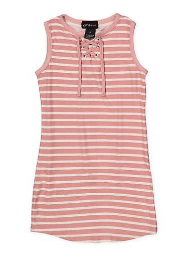 Girls 4-6x Striped Lace Up Tank Dress,MAUVE,large