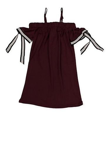Girls 4-6x Off the Shoulder Ribbon Tie Sleeve Dress,PURPLE,large