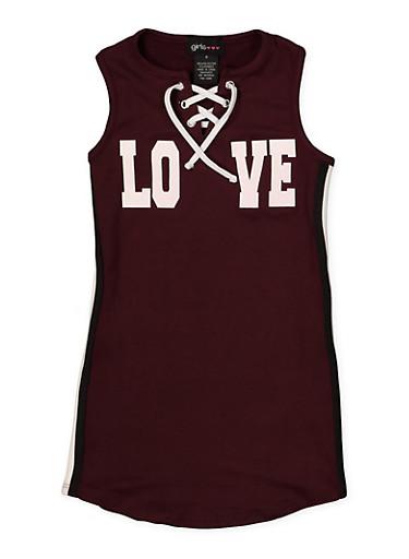 Girls 4-6x Love Graphic Lace Up Dress,PURPLE,large