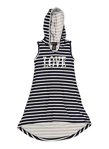 Girls 4-6x Striped Foil Graphic Tank Dress,NAVY,large