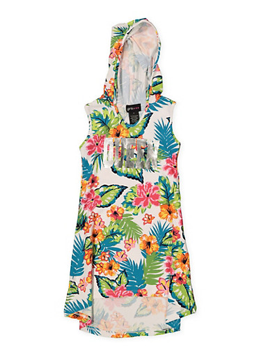 Girls 4-6x Floral Sleeveless Hooded Dress,TURQUOISE,large
