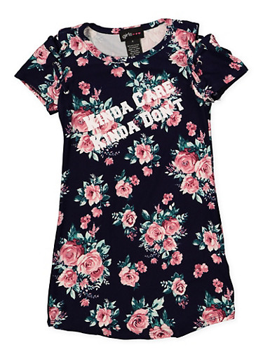 Girls 4-6x Floral Kinda Care Lace Up T Shirt Dress,NAVY,large