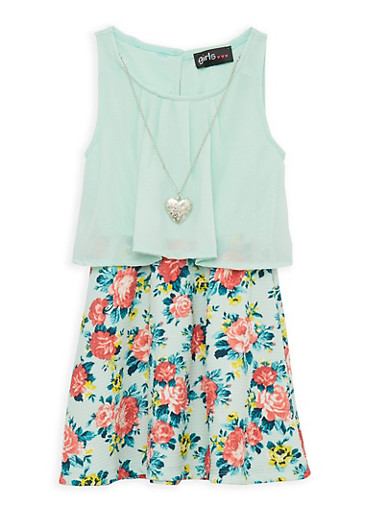 Girls 4-6x Crepe Knit Overlay Floral Dress with Necklace,MINT,large