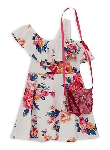 Girls 4-6x Floral One Shoulder Skater Dress with Purse,IVORY,large