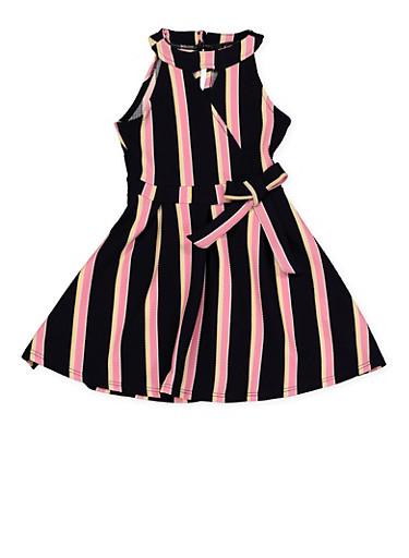 Girls 4-6x Sleeveless Striped Faux Wrap Skater Dress,NAVY,large