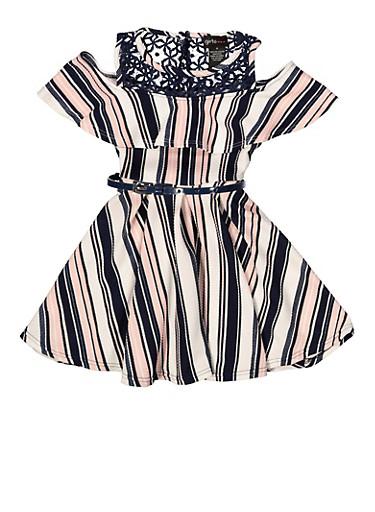 Girls 4-6x Striped Belted Skater Dress,NAVY,large