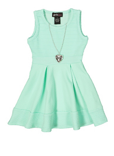 Girls 4-6x Textured Knit Dress with Necklace,MINT,large