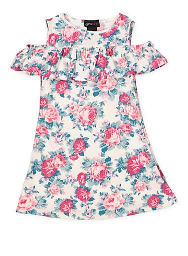 Girls 4-6x Floral Off the Shoulder Dress,WHITE,large