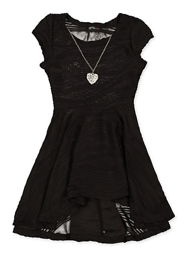 Girls 4-6x Pleated Skater Dress with Necklace,BLACK,large