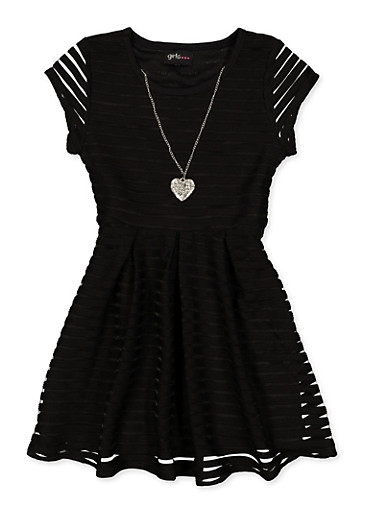 Girls 4-6x Solid Shadow Stripe Skater Dress,BLACK,large
