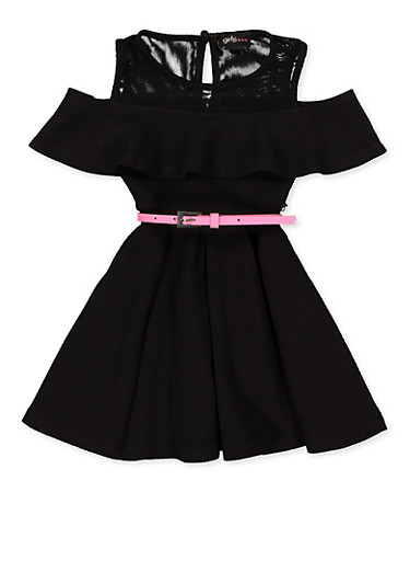 Girls 4-6x Belted Skater Dress,BLACK,large