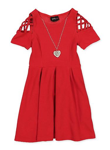 Girls 4-6x Caged Sleeve Skater Dress,RED,large