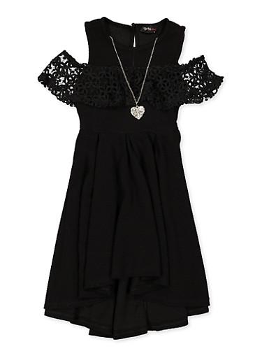 Girls 4-6x Crochet Trim Cold Shoulder Skater Dress,BLACK,large