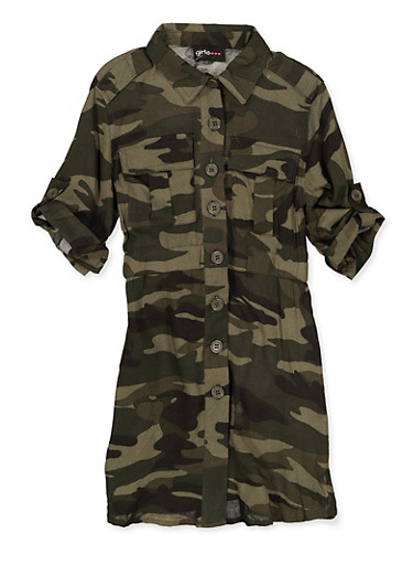 Girls 4-6x Camo Button Front Dress,OLIVE,large