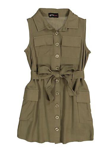 Little Girls Tie Waist Shirt Dress,OLIVE,large