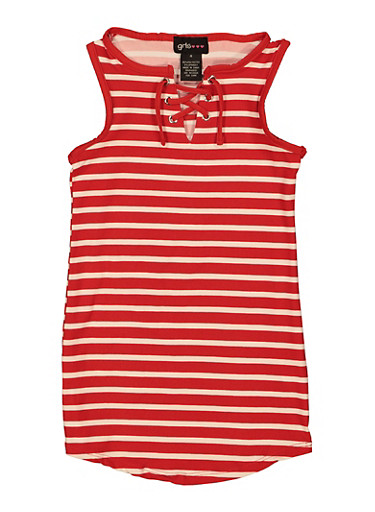 Little Girls Lace Up Striped Tank Dress,RED,large