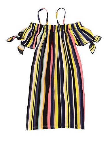 Little Girls Striped Tie Sleeve Dress,BLACK,large