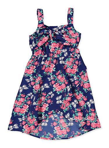 Girls 4-8 Floral Tulip Hem Skater Dress,NAVY,large