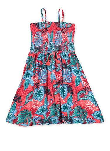 Girls 4-6x Tropical Leaf Print Smocked Skater Dress,CORAL,large