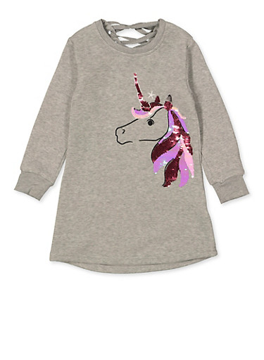 Girls 4-6x Unicorn Lace Up Back Sweatshirt Dress,HEATHER,large