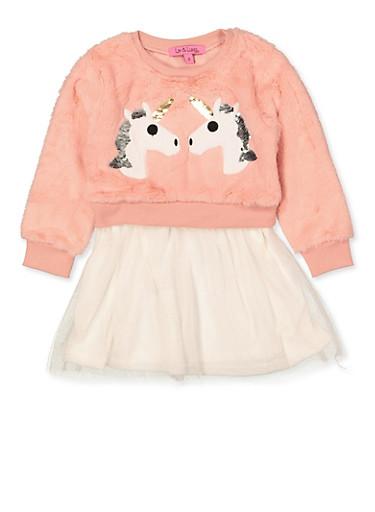 Girls 4-6x Faux Fur Unicorn Skater Dress,MAUVE,large