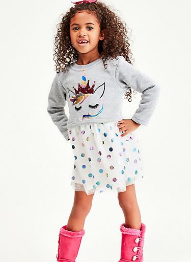 Girls 4-6x Unicorn Polka Dot Skater Dress,HEATHER,large