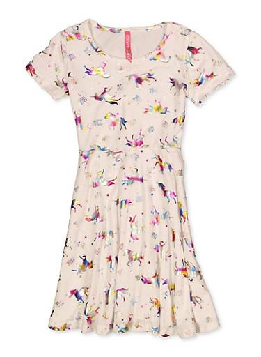 Little Girls Unicorn Foil Print Dress,IVORY,large
