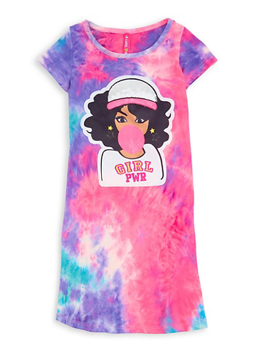 Little Girls Girl Pwr Patch Tie Dye T Shirt Dress,TURQUOISE,large