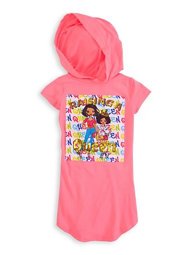 Little Girls Raising A Queen Patch Hooded Dress,NEON PINK,large