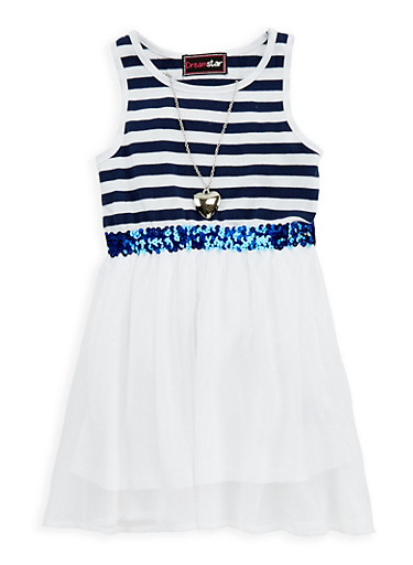 Girls 4-6x Sequin Waist Skater Dress with Necklace,WHITE/BLUE,large