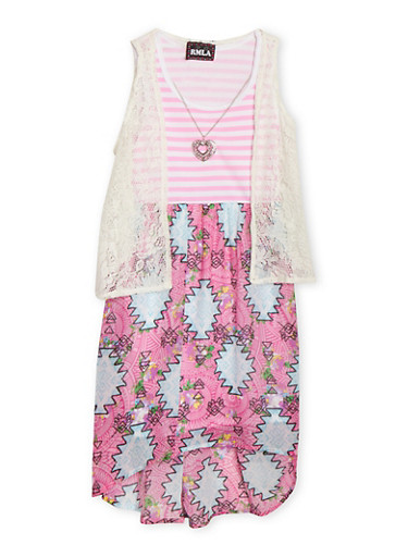 Girls 7-16 Sleeveless Mix Print Dress With Lace Vest and Necklace,PINK,large