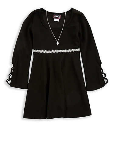 Girls 7-16 Jewel Detail Skater Dress with Necklace,BLACK,large