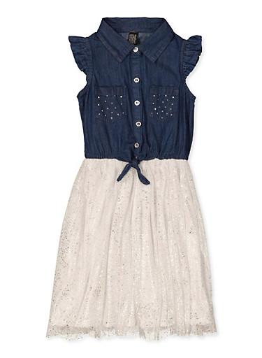 Girls 7-16 Foil Speckled Skater Dress,DENIM,large
