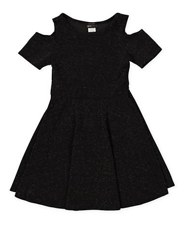 Girls 7-16 Glitter Knit Cold Shoulder Skater Dress,SILVER,large
