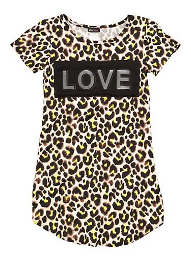 Girls 7-16 3D Love Foil Graphic Leopard Dress,LIME,large