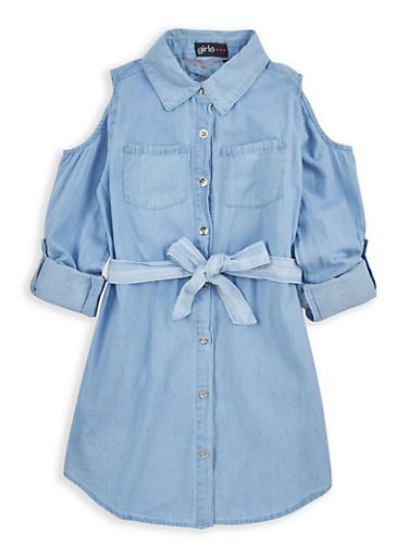 Girls 7-16 Cold Shoulder Denim Dress,BABY BLUE,large