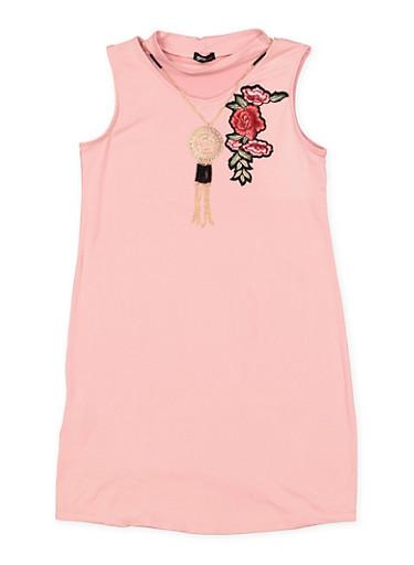Girls 7-16 Keyhole Neck Dress with Necklace,MAUVE,large