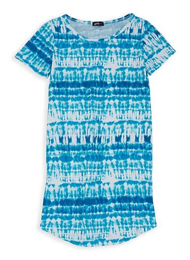 Girls 7-16 Soft Knit Tie Dye Dress,WHITE/BLUE,large