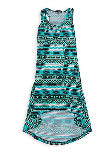 Girls 7-16 Printed High Low Tank Dress,MINT,large