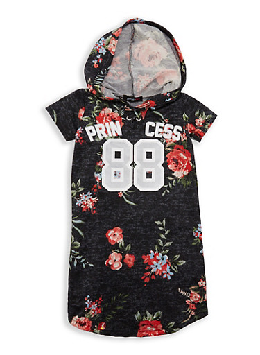 Girls 7-16 Floral Graphic Hooded Dress,BLACK,large