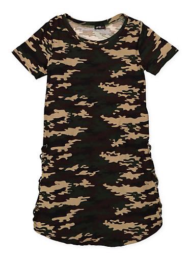 Girls 7-16 Camo T Shirt Dress,CAMOUFLAGE,large